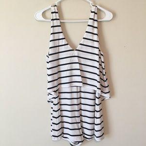 Nwts Tobi White black striped romper size small
